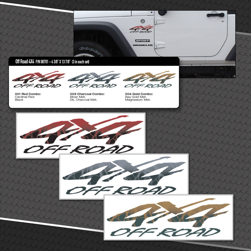 Off Road 4x4 Logos 3 Vinyl Decals Included Moproauto