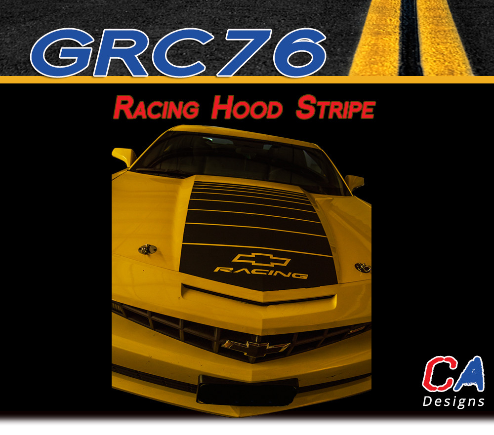 2010 2013 Chevy Camaro Racing Hood Stripe Vinyl Graphics Kit Moproauto Vinyl Graphics