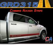 "2009-2015 Dodge Ram ""CUMMINS"" Rocker Vinyl Stripe Graphic Kit (M-GRD315)"