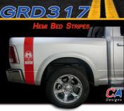 2009-2015 Dodge Ram Truck HEMI Bed Stripe Vinyl Striping Graphic Kit (M-GRD317)