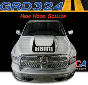 2009-2015 Dodge Ram Hemi Hood Scallop Stripe Vinyl Striping Graphic Kit (M-GRD324)