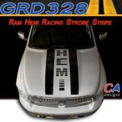2009-2015 Dodge Ram Rally Hemi Hood Strobe Stripe Vinyl Striping Graphic Kit (M-GRD328)