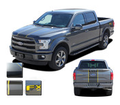 F-150 BORDERLINE : Ford F-150 Center Racing Stripes Vinyl Graphics and Decals Kit for 2015 2016 2017 2018 Models (M-PDS3820)