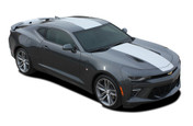 2016 2017 2018 Camaro OVERDRIVE : Chevy Camaro Center Wide Racing Stripes Rally Vinyl Graphics and Decals Kit (fits SS, RS, V6 MODELS) (M-PDS-4049.50.51)