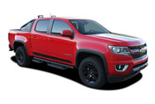 RAMPART : 2015 2016 2017 2018 Chevy Colorado Lower Rocker Panel Accent Vinyl Graphic Package Factory OEM Style Decal Stripe Kit (M-PDS-4153)