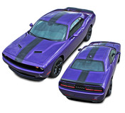 Challenger FINISH LINE 2 : Center Wide Rallye Redline Style Vinyl Racing Stripes Hood Decal Graphics Kit fits 2015 2016 2017 2018 Dodge Challenger (M-PDS4241)