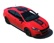 SPRINT RALLY GT : Hood, Roof, and Deck Lid Vinyl Graphic Racing Stripes for 2016 Dodge Dart GT (M-PDS4314)