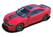 2015 2016 2017 2018 N-CHARGE RALLY SP : R/T Scat Pack SRT 392 Hellcat Racing Stripe Rally Vinyl Graphics Decals Kit for Dodge Charger (M-PDS4467)