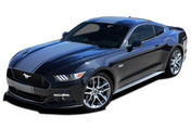 CONTENDER : 2015 2016 2017 Ford Mustang Wide Center Bumper to Bumper Hood Racing Rally Stripes Vinyl Graphics Kit (PDS4534)