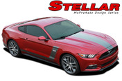 "REPLACEMENT SECTIONS FOR - STELLAR : 2015 2016 2017 Ford Mustang ""BOSS"" Style Hood and Side Vinyl Graphic Decals Stripes Package"