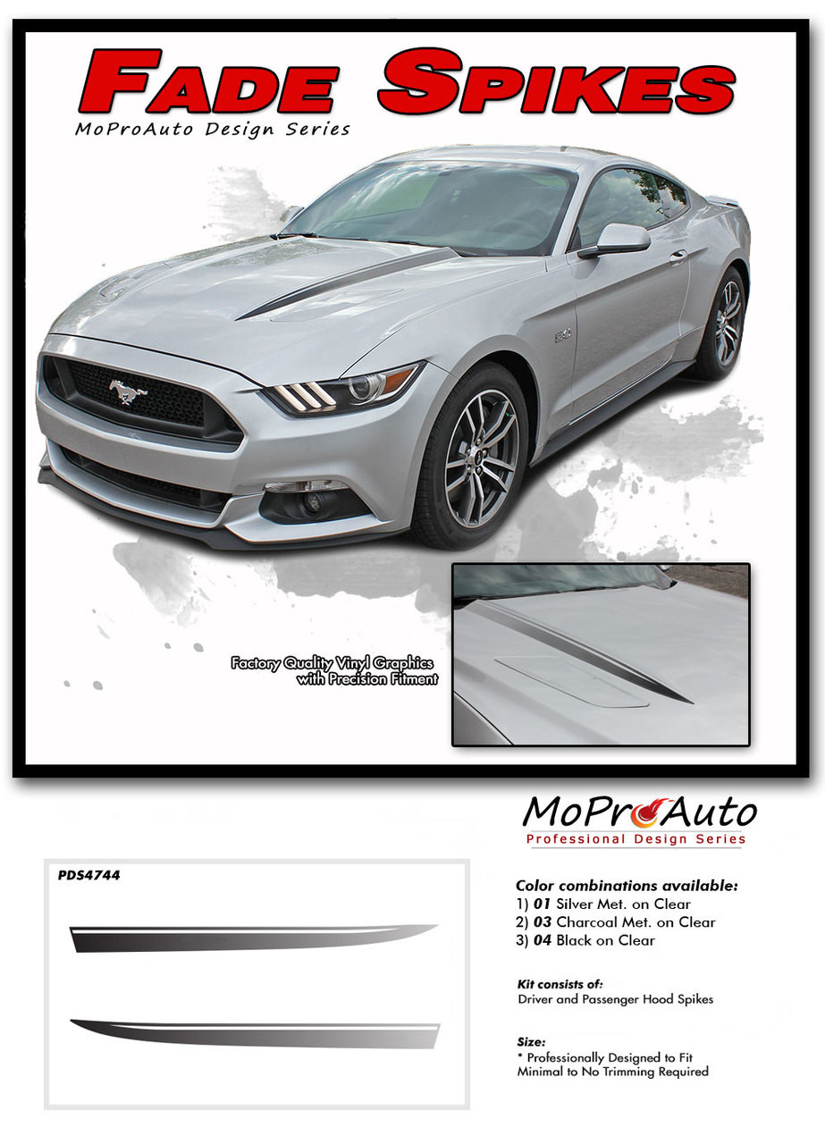 Fade Spikes Ford Mustang Hood Spear Spike Stripes 2015