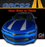 2016-2018 Chevy Camaro Hood Spear Stripe with Pinline Vinyl Graphic Decal Kit (M-GRC92)