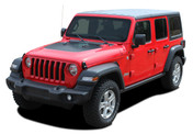 JEEP SPORT HOOD : Jeep Wrangler Hood Vinyl Graphics Decal Stripe Kit for 2018 2019 Models (M-PDS-5564)
