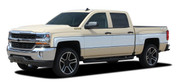 CHEYENNE RETRO : 2014-2018 Chevy Silverado Mid-Body Wrap Accent Graphic Side Vinyl Stripe Decal Kit (M-PDS-5594)