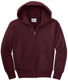 Port & Company® - Youth Core Fleece Full-Zip Hooded Sweatshirt w/Embroidery Logo - Trinity