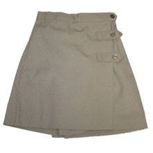 Girls Two-Button Tab Solid Skort - Khaki Only