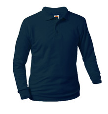 Jersey Knit Long Sleeve Polo Shirt