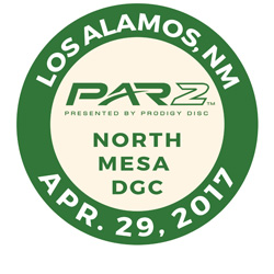 Disc Golf PAR2 Event. North Mesa Disc Golf Course, Los Alamos, NM, April 29 2017