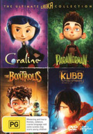 4 MOVIE PACK: BOXTROLLS / CORALINE / KUBO & THE TWO STRINGS / PARANORMAN DVD
