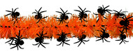 Shinny Black Spiders on Orange Tinsel