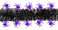 Shinny Purple Spiders on Black Tinsel