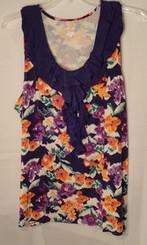 Purple Floral Sleeveless Ruffle Top Women's Size 3x