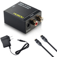 Digital Optical Coax to Analog RCA Audio Converter Adapter with Fiber Cable