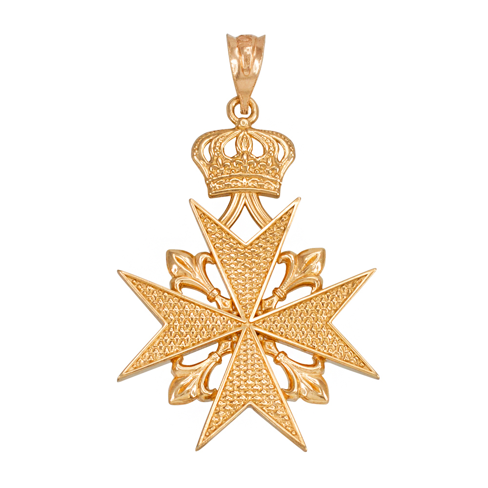 Gold fleur de lis maltese cross pendant necklace gold maltese cross necklace aloadofball Image collections