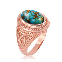 Rose Gold Celtic Knot Blue Copper Turquoise Statement Ring