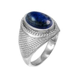 White Gold Textured Band Lapis Lazuli Statement Ring