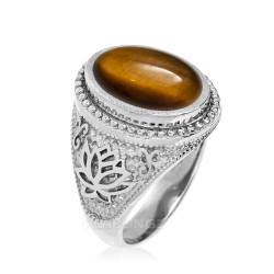 White Gold Lotus Yoga Mantra Tiger Eye Gemstone Statement Ring
