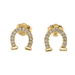 14k Yellow Gold Horse Shoe Good Luck Diamond Stud Earrings