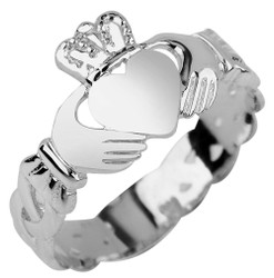 Sterling Silver Ladies Claddagh Trinity Celtic Band Ring