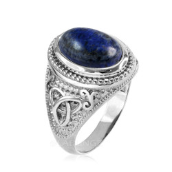 Sterling Silver Celtic Trinity Lapis Lazuli Gemstone Statement Ring