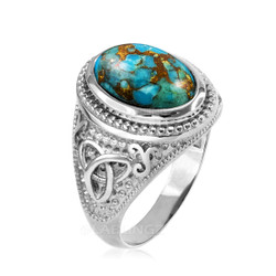 Sterling Silver Celtic Trinity Blue Copper Turquoise Statement Ring