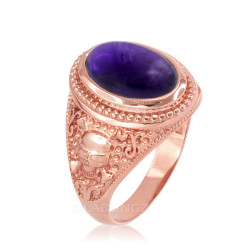 Rose Gold Skull and Bone Purple Amethyst Statement Ring.