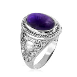 White Gold Skull and Bone Purple Amethyst Statement Ring.