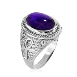 White Gold Egyptian Ankh Cross Purple Amethyst Statement Ring.