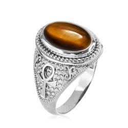 White Gold Egyptian Ankh Cross Tiger Eye Statement Ring.