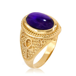 Yellow Gold Egyptian Ankh Cross Purple Amethyst Statement Ring.
