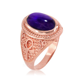 Rose Gold Egyptian Ankh Cross Purple Amethyst Statement Ring.