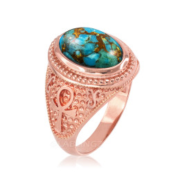 Rose  Gold Egyptian Ankh Cross Blue Copper Turquoise Statement Ring