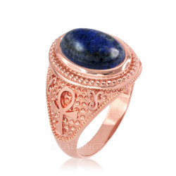 Rose Gold Egyptian Ankh Cross Lapis Lazuli Statement Ring.