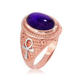 Two-Tone Rose Gold Egyptian Ankh Cross Purple Amethyst Statement Ring.