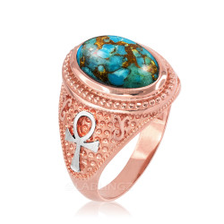 Two-Tone Rose Gold Egyptian Ankh Cross Blue Copper Turquoise Statement Ring