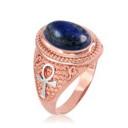 Two-Tone Rose Gold Egyptian Ankh Cross Lapis Lazuli Statement Ring.