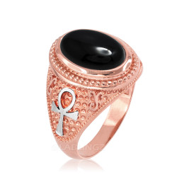 Two-Tone Rose Gold Egyptian Ankh Cross Black Onyx Statement Ring.