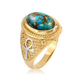 Two-Tone Yellow Gold Egyptian Ankh Cross Blue Copper Turquoise Statement Ring