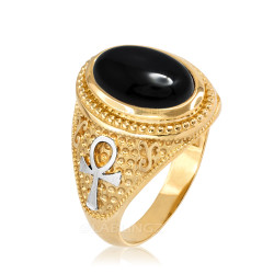 Two-Tone Yellow Gold Egyptian Ankh Cross Black Onyx Statement Ring.