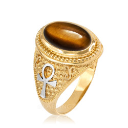 Two-Tone Yellow Gold Egyptian Ankh Cross Tiger Eye Statement Ring.